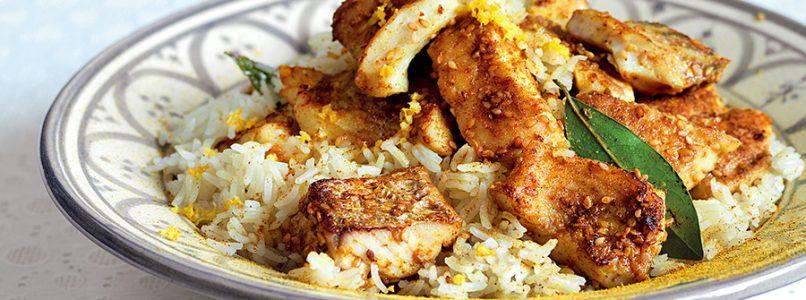 Ricetta Ricciola al curry con pilaf aromatico